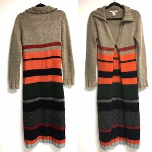 FREE PEOPLE Wool Striped Chunky Knit Long Duster M